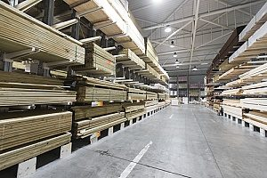 treated lumber and plywood products in a warehouse