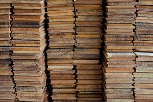 Stack of treated wood