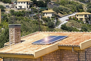 House with solar panel energy self sufficient