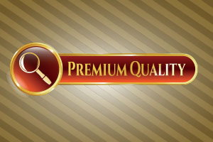 premium quality label with magnifying glass