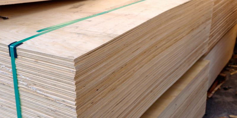 Stack of belted plywood