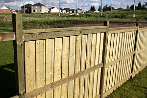 Treated wood used as a fence