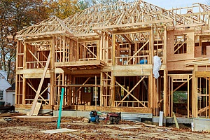 Wood framework of a house