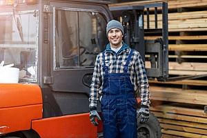 Wood supplier in lumber yard