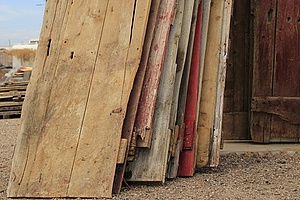 Stack of lumber in storage to prevent warping