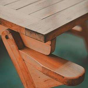 brown bench constructed from southern yellow pine plywood