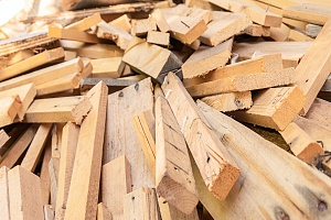 stacks of fire treated wood that can be purchased from a wood supplier