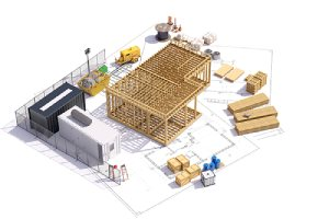 3D illustration of a construction project.Calculate your waterproof plywood needs based on the size of the project