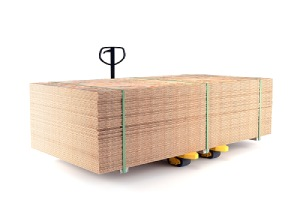 A pallet truck with load of sheets of fire retardant plywood