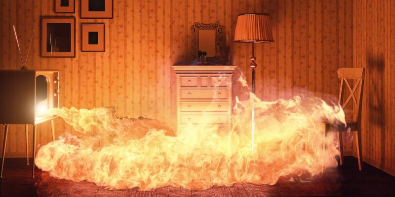 An artist's illustration of a burning room. Fire retardant plywood does burn when it is exposed to fire