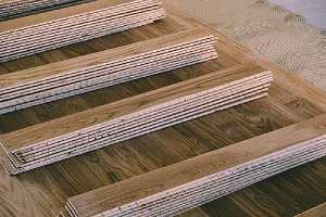 Fire retardant plywood planks arranged in rows