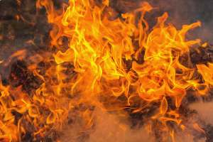 Flaming red flame. Class C fire rated plywood has a flame spread number of 76 to 200