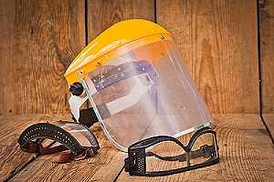 eye protection used to treat wolmanized wood