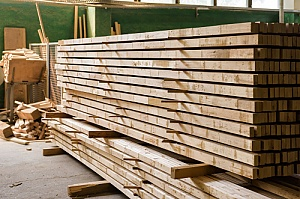 stack of fire treated lumber