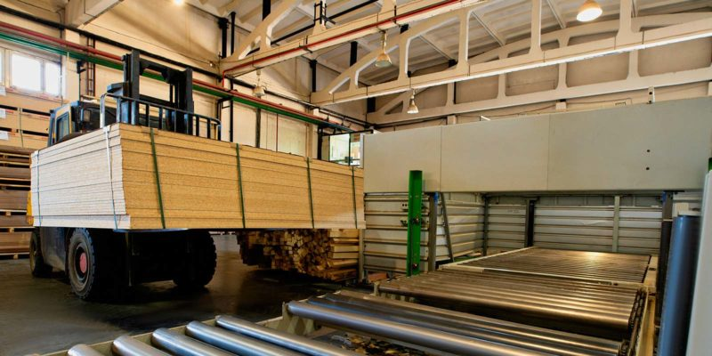 Forklift at a wholesale lumber plant. There are things to consider when looking for reliable wholesale lumber