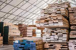 Stacks of lumber being stored in a wholesale lumber warehouse