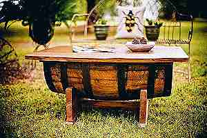 Table made from preservative-treated wood