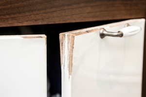 Water damaged bathroom vanity cabinet door. There are a few limitations to Pyro guard plywood