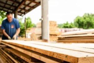 Stack of Rough Sawn Timber Pine Lumber Planks