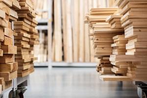 stacks with pine lumber