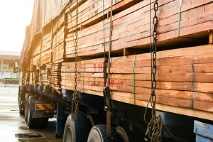 timber transport truck Park waiting for inspection with Wholesale Lumber Supplier for construction