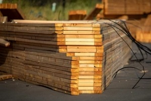 lumber deck in lumber yard